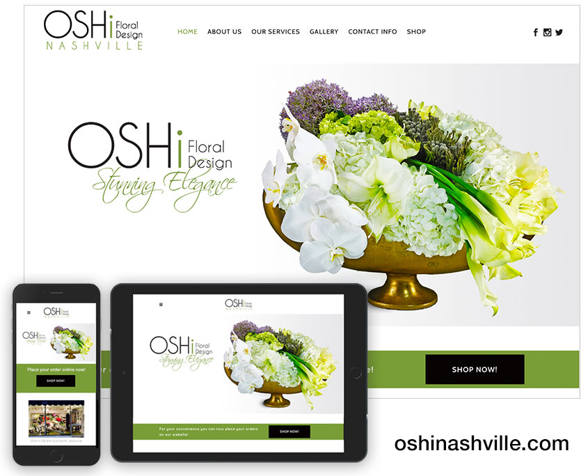 OSHi Floral Design website / oshinashville.com