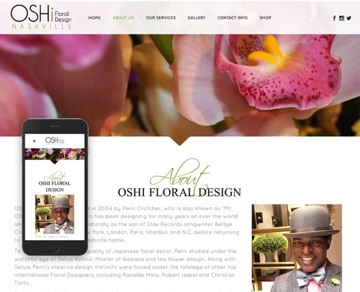 OSHi Floral Design website / oshinashvile.com