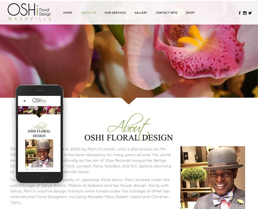 OSHi Floral Design website / oshinashvile.com